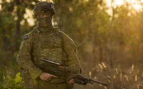 Картинка взгляд, фон, солдат, автомат, экипировка