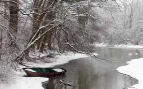 Обои зима, река, лодка, снег
