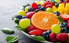 Обои черника, клубника, виноград, апельсин, фрукты, малина, ягоды