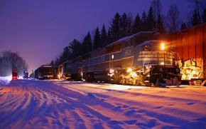 Картинка локомотив, снег, зима, состав, деревья, поезд, огни, ночь, железная дорога, лес