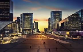 Обои capital, France, cityscape, city, square, sunset, monument, twilight, sky, Arc de Triomphe, skyscrapers, people, Paris, ...