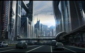 Обои дорога, небо, машины, город, будущее, улица, здания, переход, sci fi cityscape