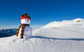 Картинка зима, снег, Новый Год, Рождество, снеговик, happy, Christmas, winter, snow, Xmas, snowman