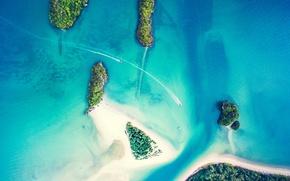 Обои песок, острова, прогулка, катер, внешность сверху, пальмы, море