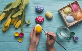 Картинка Цветы, Тюльпаны, Пасха, Яйца, Руки, Украшение, Праздник, Краски, Настроение, Кисточка