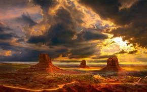 Обои США, пейзаж, Америка, Долина Монументов, небо, вид, останки гигантских деревьев, панорама, долина, природа, свет, лучи, ...