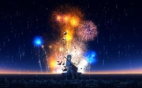 Картинка небо, девушка, ночь, дождь, гитара, лужи, фейерверк, Y_Y