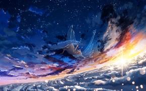 Картинка небо, девушка, солнце, крылья, Y_Y