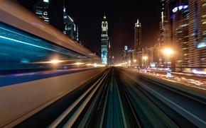 Обои свет, ночь, город, скорость, выдержка, Дубай, ОАЭ