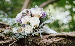 Картинка цветы, розы, свадебный букет