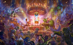 Обои друид, Blizzard, world of warcarft, карты, art, чернокнижник, гоблин, маг, магия, жрец, Hearthstone, игра