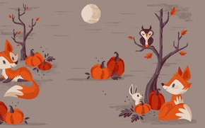 Обои вектор, хэллоуин, праздник, арт, лисичка, луна, детская, тыква, ночь
