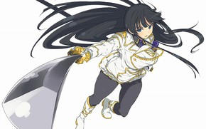 Картинка девушка, меч, аниме, брюнетка, арт, senran kagura, ikaruga