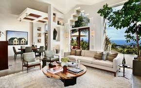 Картинка дизайн, стол, диван, мебель, картина, окно, особняк, Design, гостиная, room, Interior, Living