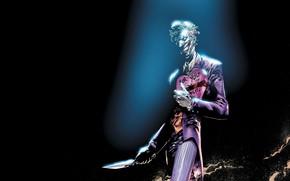 Картинка Нож, Улыбка, Лицо, Джокер, Зубы, Костюм, Кожа, Маска, Комикс, Smile, Joker, Злодей, Подарок, DC Comics, …