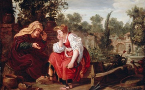 Картинка масло, картина, мифология, Вертумн и Помона, Ян Тенгнагель