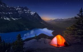 Картинка свет, горы, ночь, Канада, палатка, путешествие