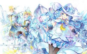 Картинка зима, лёд, аниме, арт, Vocaloid, Вокалоид, персонажи
