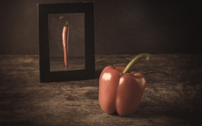 Картинка мечта, отражение, зеркало, перец, паприка