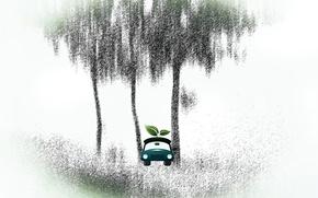 Картинка машина, лист, дерево