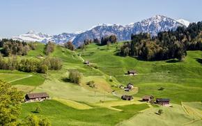 Картинка горы, Швейцария, домики, Canton of Nidwalden, Burgenstock