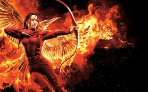Обои Girl in fire, Red, Jennifer Lawrence, The Hunger Games Mockingjay Part 2, Katniss Everdeen