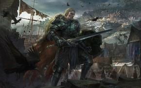 Картинка птицы, город, дом, оружие, доспехи, Воин, ворон