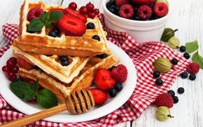 Обои ягоды, малина, завтрак, черника, вафли, breakfast, fresh berries