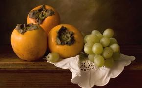 Картинка виноград, фрукты, хурма