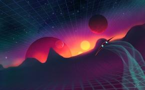 Обои космос, synthpop, заставка, огни, планеты, звёзды, корабль, сетка, квадраты, рельеф, Josef Bartoň