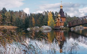 Картинка осень, лес, трава, мост, природа, река, камни, церковь, Россия