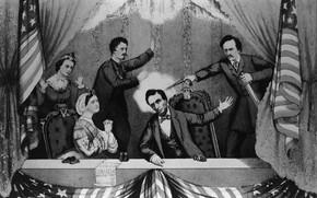 Картинка револьвер, флаг америки, Убийство Авраама Линкольна, Джон Уилкс Бут