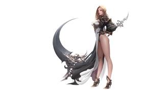 Картинка девушка, фентези, оружие, эльф, игра, минимализм, воин, арт, костюм, коса, посох, эльфийка, персонаж, Daeho Cha