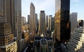 Картинка небоскреб, собор, церковь, дома, панорама, Нью-Йорк, США