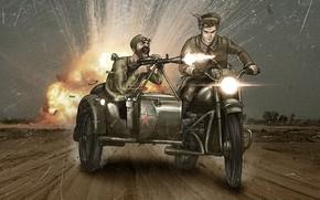 Картинка война, мотоцикл, мужчины, комикс, пулемёт