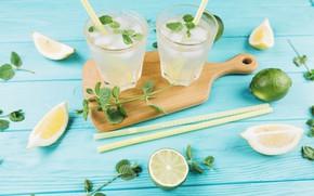 Картинка Лимон, лайм, Лимонад