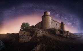 Обои замок, звезды, ночь, небо, млечный путь