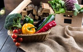 Картинка зелень, Овощи, перец, помидоры