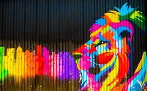 Обои цвета, забор, краски, граффити, лев