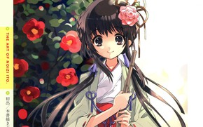 Картинка куст, прическа, иероглифы, жрица, длинные волосы, японская одежда, art, Noizi Ito, камелия красная