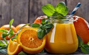 Обои апельсины, фреш, мята, напиток, сок