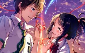 Картинка небо, лицо, руки, слезы, галстук, art, красная нить, школьники, Makoto Shinkai, Kimi no Na wa, …