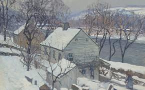 Картинка зима, пейзаж, дом, река, картина, Edward Willis Redfield, Эдвард Редфилд, Ламбервилл