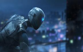 Картинка city, game, robot, armor, night, ninja, cyborg, shinobi, Raw Data