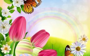 Картинка бабочки, цветы, рисунок, радуга, тюльпаны, яркость