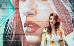 Картинка лето, лицо, стена, граффити, модель, волосы, макияж, Martina Cecilia