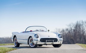 Обои Classic, 1954, White, Polo, Chevrolt Corvette
