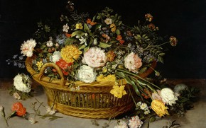 Картинка картина, натюрморт, Корзина Цветов, Ян Брейгель Младший, Jan Bruegel de Jonge