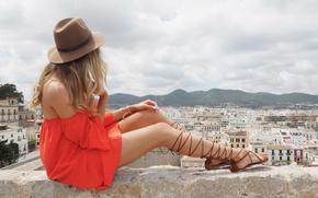 Картинка лето, девушка, город, шляпка