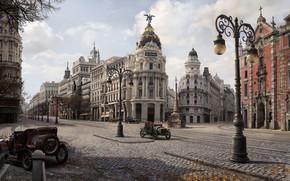 Обои город, осень, Gran via 1900, Jordi Gonzalez Escamilla, арт, улица